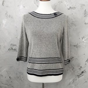 EMMA JAMES Grey & Black Pullover Sweater